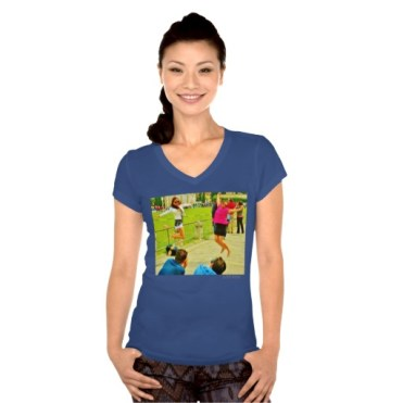Leaning Tower Leaping Tourists, Women, Bella Jersey V-Neck T-Shirt, Front, Model, Blue